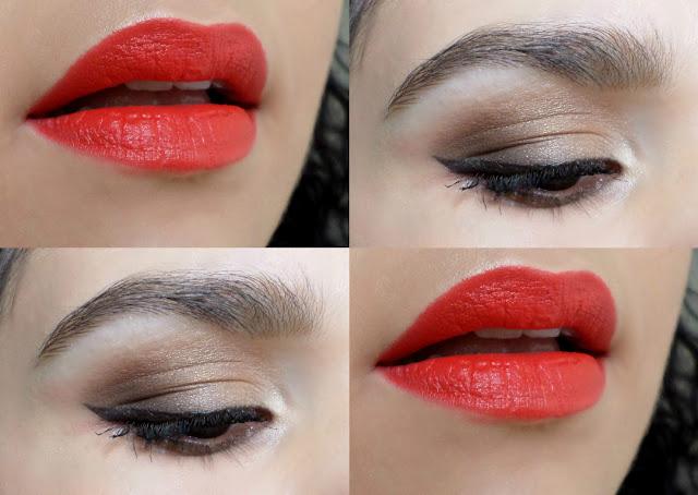 Maquiagem com Batom Laranja e Olho Esfumado Marrom