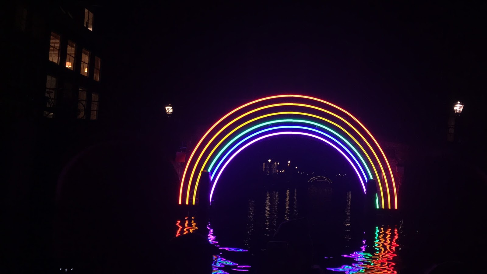 A rainbow of lights- the Amsterdam light festival display as seen from a canal boat.