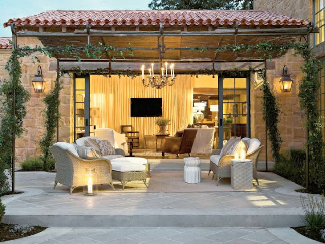 Open Concept Tuscan Living Room
