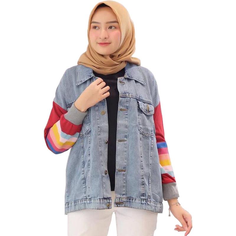Jaket Jeans Wanita Kekinian Motif Pelangi - Marun