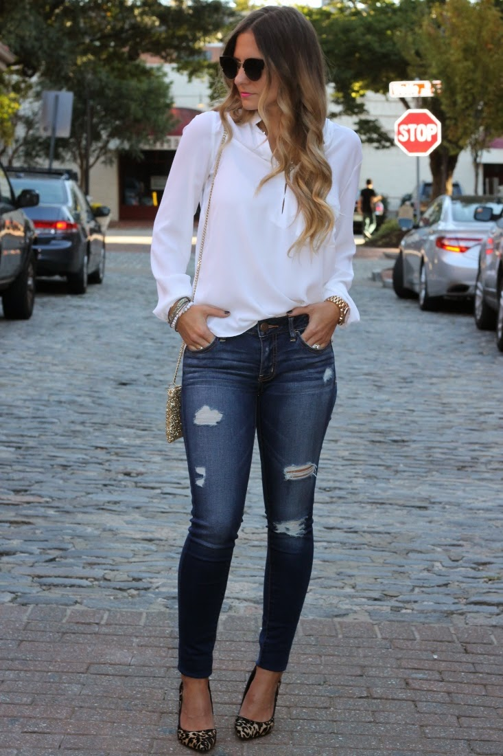 Bedazzles After Dark: Outfit Post: Date Night Distressed Denim