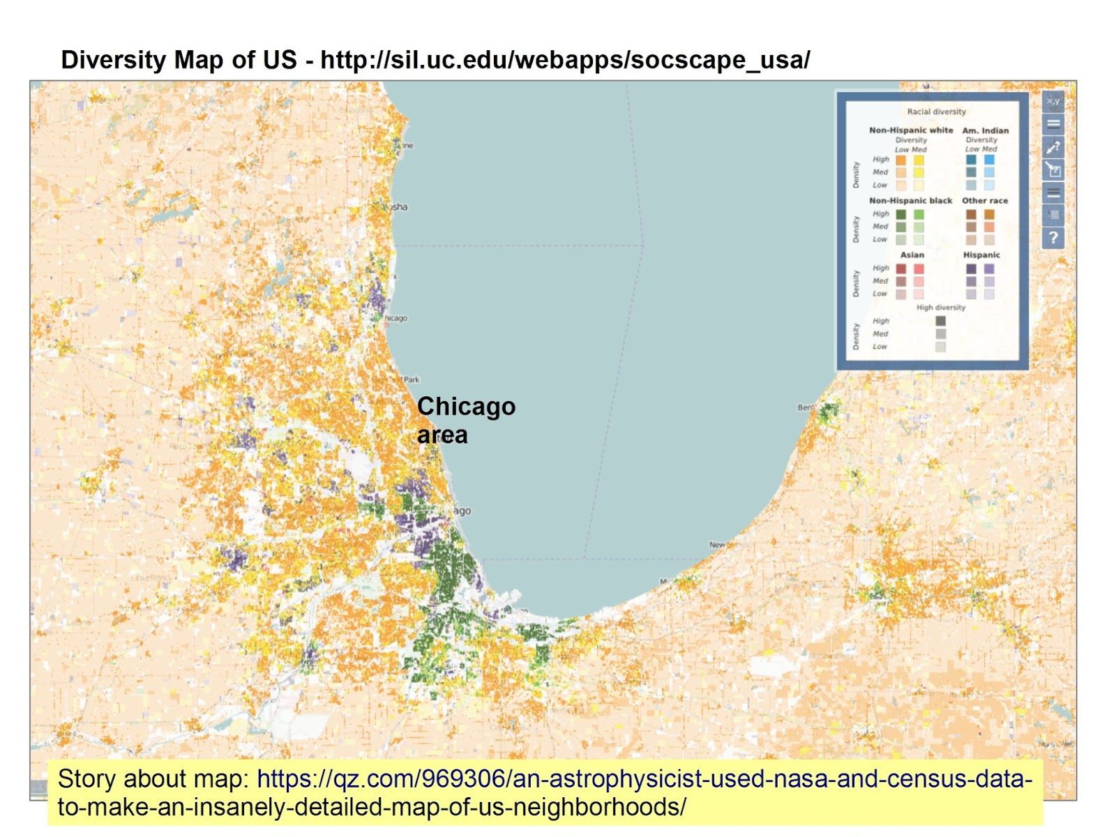 this is screenshot showing chicago area which i created using the interactive diversity map found at this site this article describes how the map was