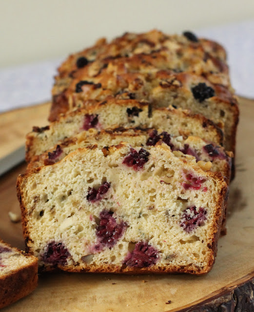Food Lust People Love: Slightly sweet with a just touch of honey, each bite of this blackberry walnut blue cheese loaf is delightful mix of salty and fruity and nutty. It's especially lovely toasted.