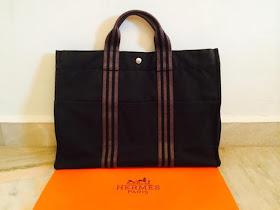35203b062e4 Truly Vintage: Authentic Hermes Fourre Tout MM Black Canvas Tote Bag