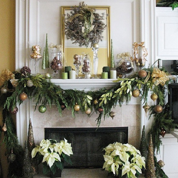 Christmas decoration ideas for fireplace ideas for home - Modern christmas mantel ideas ...