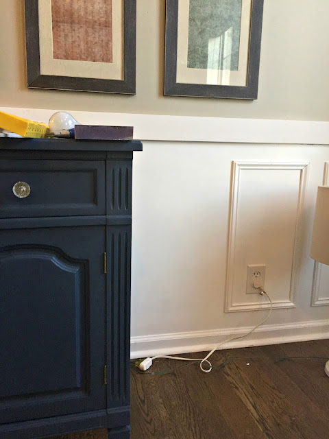 wainscoting squares on wall