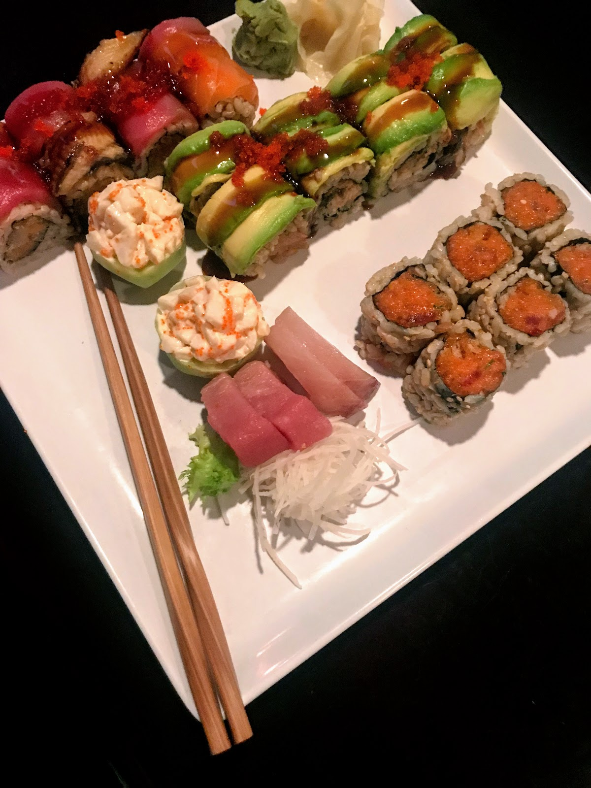 Sushi with Reusable Bamboo chopsticks