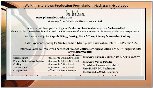 Sri Krishna Pharmaceuticals Ltd Walk In For Multiple Positions - Production from 10  to 18 August