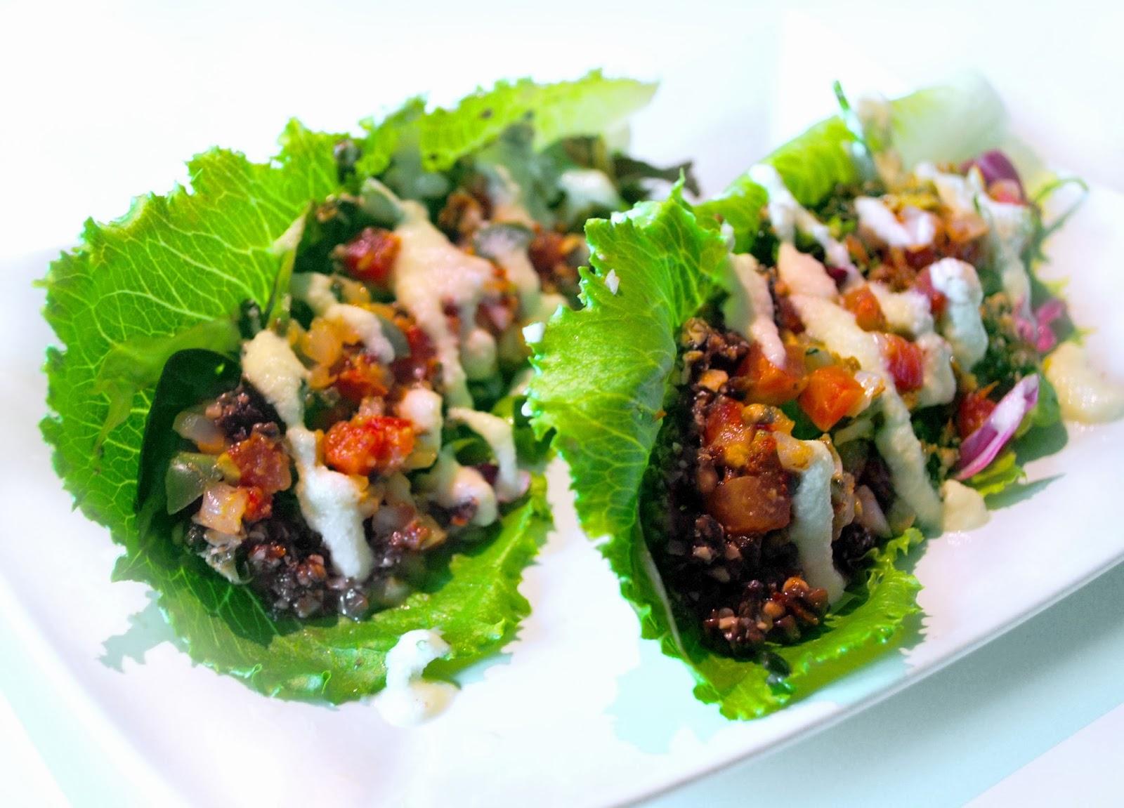 Spiced Blueberry Shake Raw Walnut Tacos With Jalapeno And
