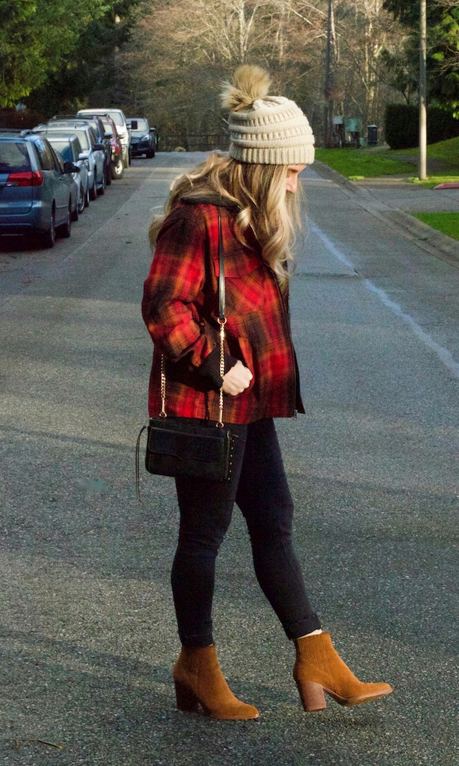 plaid jacket, pompom beanie and ankle booties