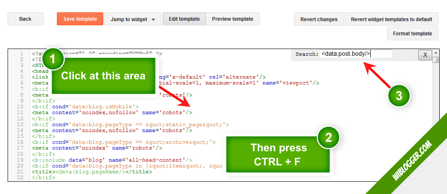 Cara mencari kode template di HTML Editor blogger