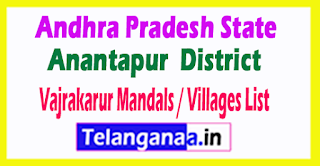 Vajrakarur Mandal Villages Codes Anantapur District Andhra Pradesh State India