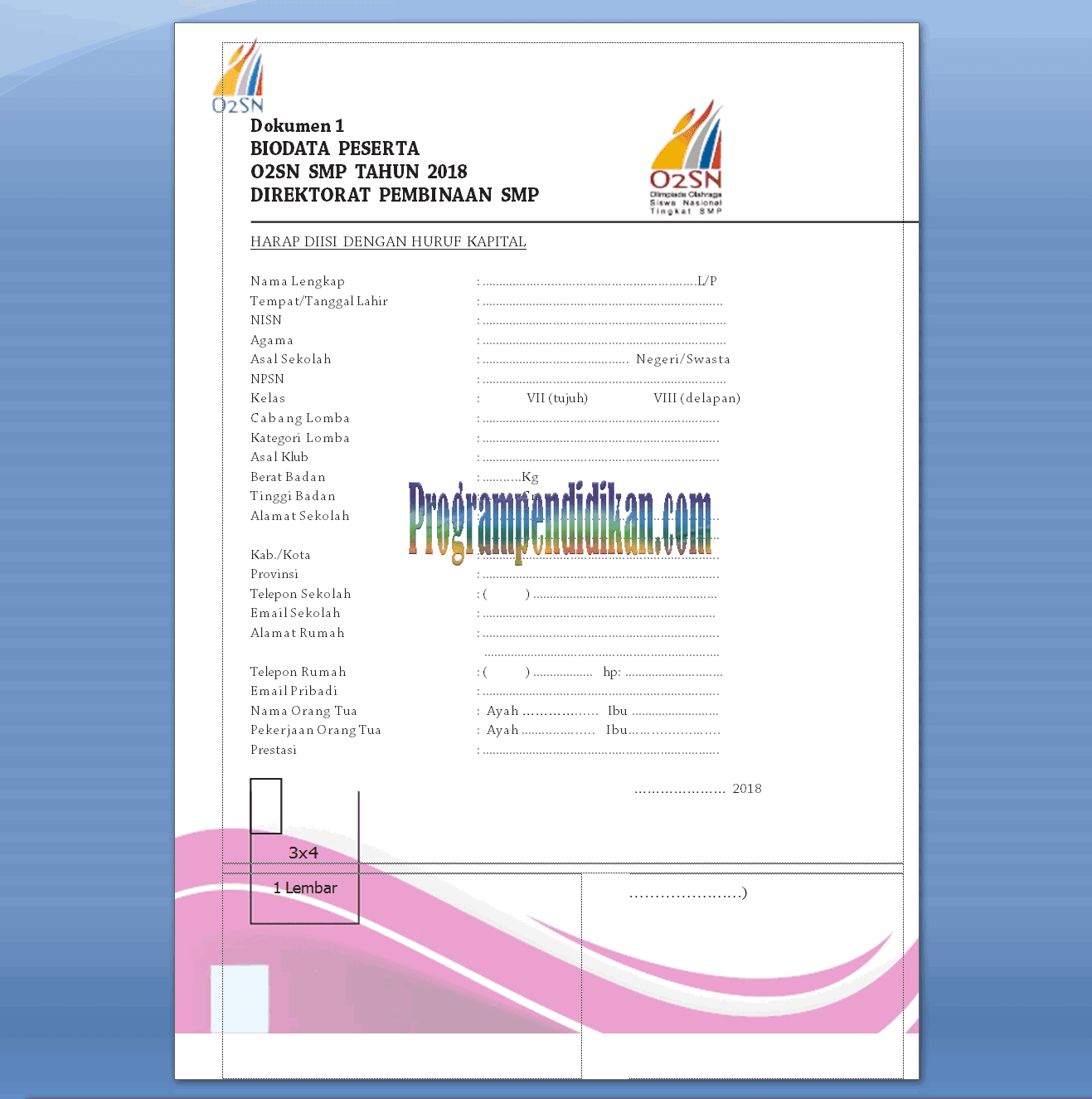 Biodata Peserta O2SN Tahun 2018