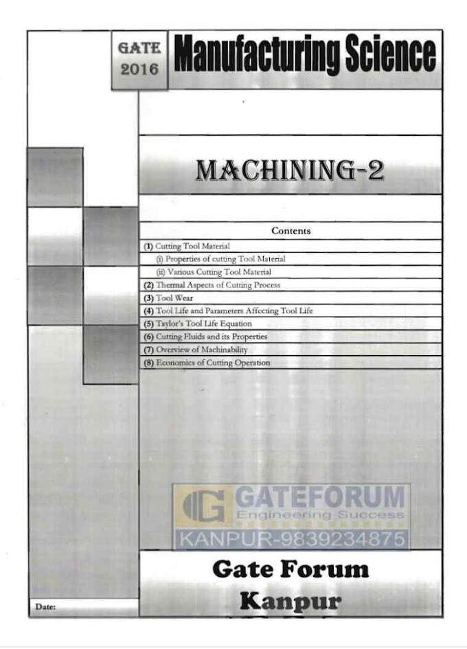MANUFACTURING SCIENCE MACHINING-2 [GATE FORUM]