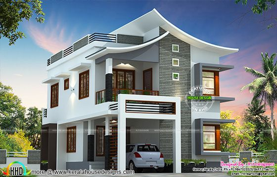 Slanting style curvy roof house plan