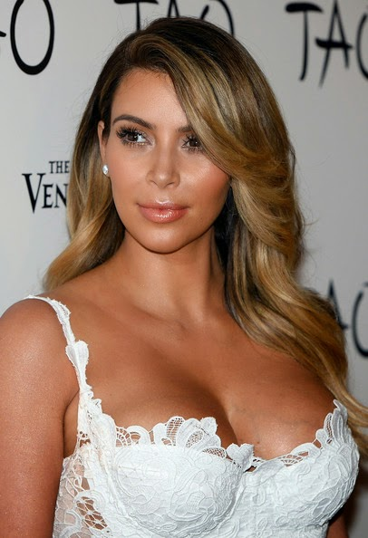 Kim Kardashian Long Hairstyles Feathered flip