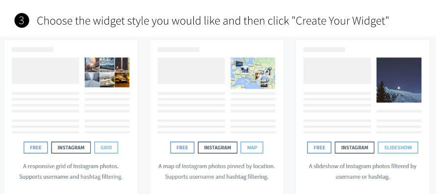 choose instagram widget style for blog