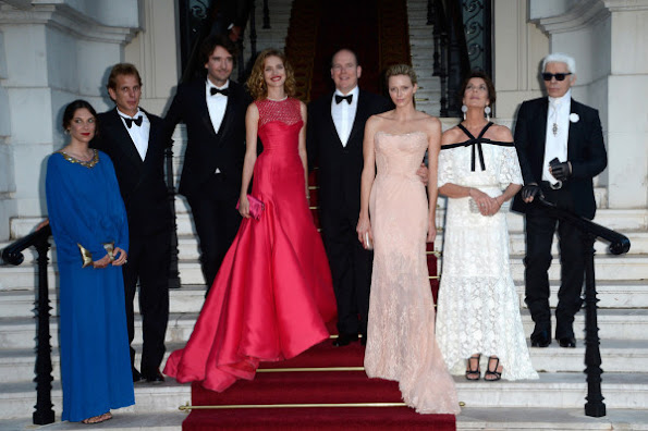 Princess Charlene wore Atalier Versace dress, Princess Caroline wore Chanel dress, Natalia Vodianova wore Christian Dior dress from 213 Couture collection