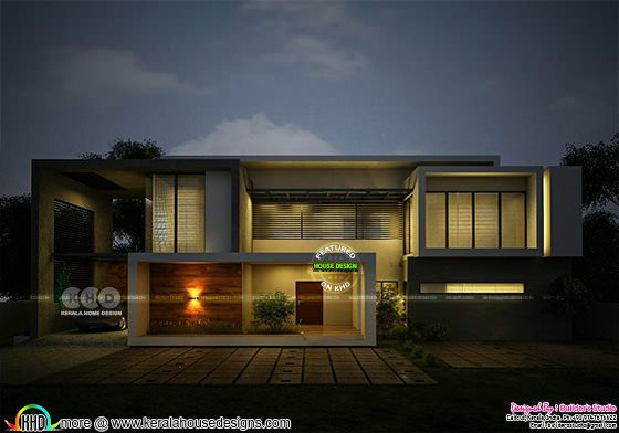Front side elevation night view rendering