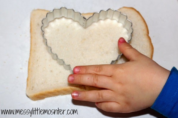 Painted heart bread- valentines day snack