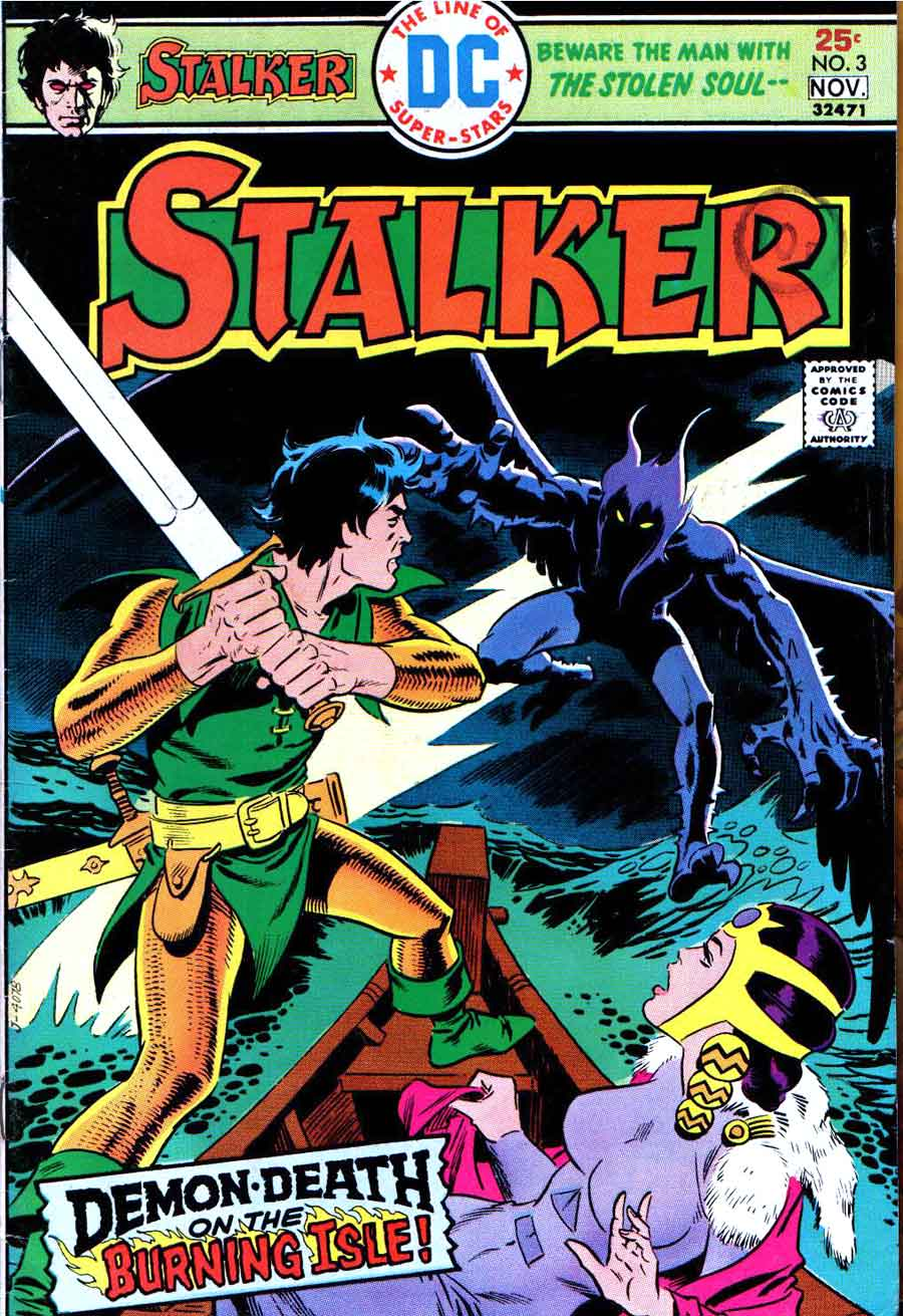 Stalker v1 #3 dc bronze age comic book cover art by Steve Ditko, Wally Wood