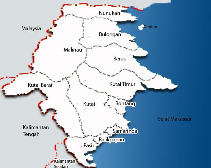 peta kalimantan utara lengkap nama kabupaten dan kota