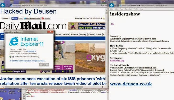 Microsoft Internet Explorer Universal Cross-Site Scripting Flaw