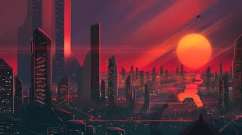 Sci-Fi, City, Sunset, Digital Art, Illustration, 4K, #4.1961