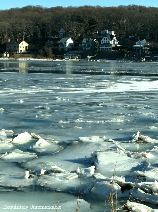 An icy pond in a northeastern town