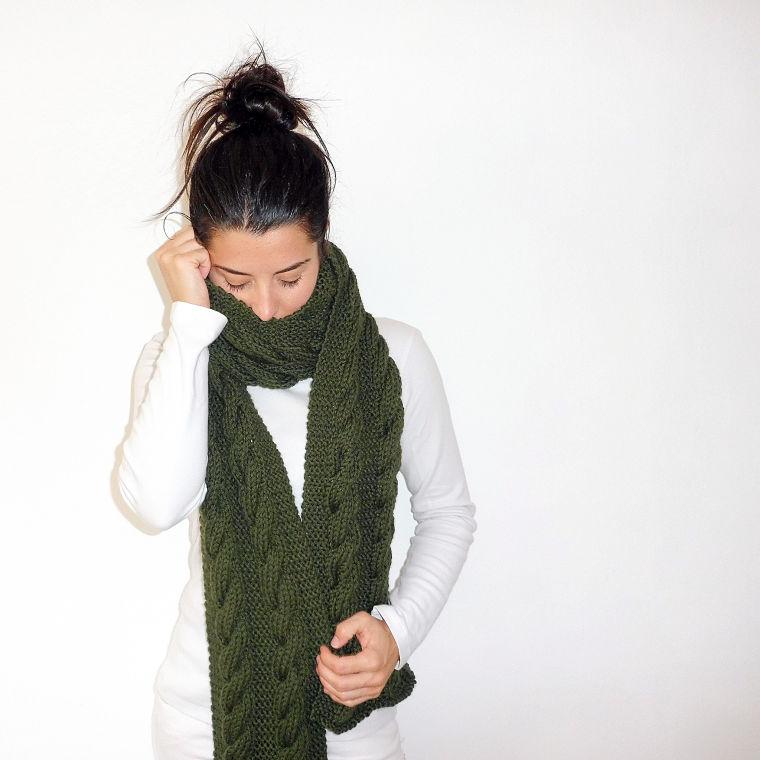 PUNTXET Bufanda larga de punto con doble trenza #crochet #ganchillo #knit #punto #handmade #etsy