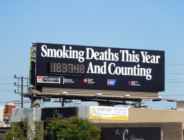 Smoking deaths black counter billboard