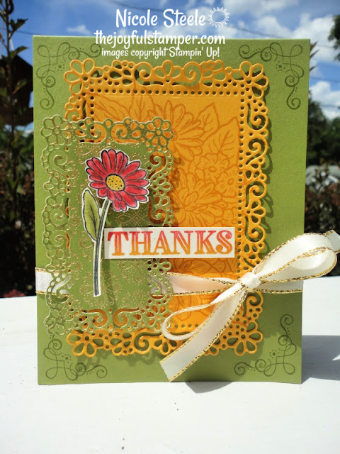 thank you card | ornate style | ornate thanks | ornate layers dies | ornate garden designer series paper | stampin' up! | nicole steele the joyful stamper | independent stampin' up! demonstrator | handmade cards | learn to make cards | learn to stamp