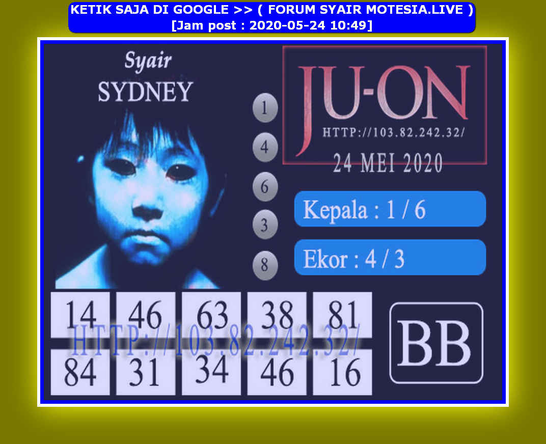 Kode syair Sydney Minggu 24 Mei 2020 72