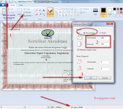 kerjapns.com Cara Mudah Mengurangi ukuran Memori Foto, cara kompres gambar jpeg jpg png cara mengurangi resolusi foto dengan microsoft paint atau software windows