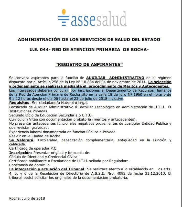 Auxiliares Administrativos Bachilleres en Administración 2018 Asse
