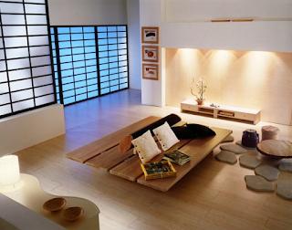 Ruang keluarga minimalis ala Jepang