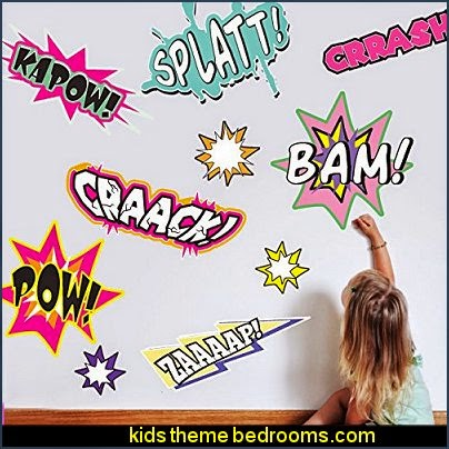 Kapow! Wall Decal Kit  Comic Book Words Wall Decal batman bedrooms - batman bedroom decorating ideas -  batman furniture - batman murals - batman wall decals - batman bedding - batmobile bed - Batman room decor - batman pajamas -  batcave DC Comics Batman -  batman comics themed bedrooms -  Batman vs Superman Bedrooms - Superhero bedroom ideas -
