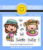 Sunny Studio Stamps: Coastal Cuties Beach Girls 2x3 Photopolymer Mini Clear Stamp Set
