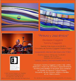 Invitación MuestraGiuseppe Caggiani y Jazz étnico de Tommy Caggiani.