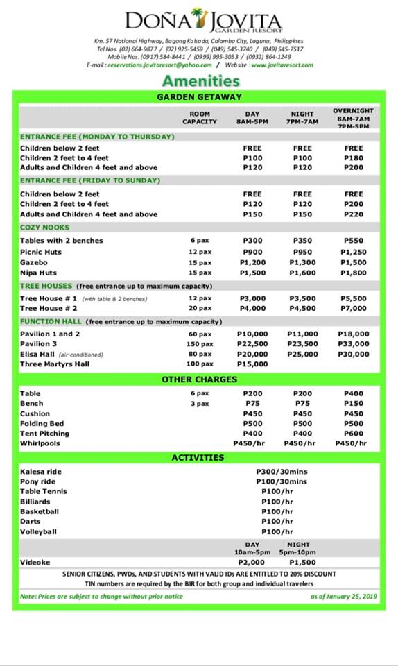 Doña Jovita Garden Resort rates