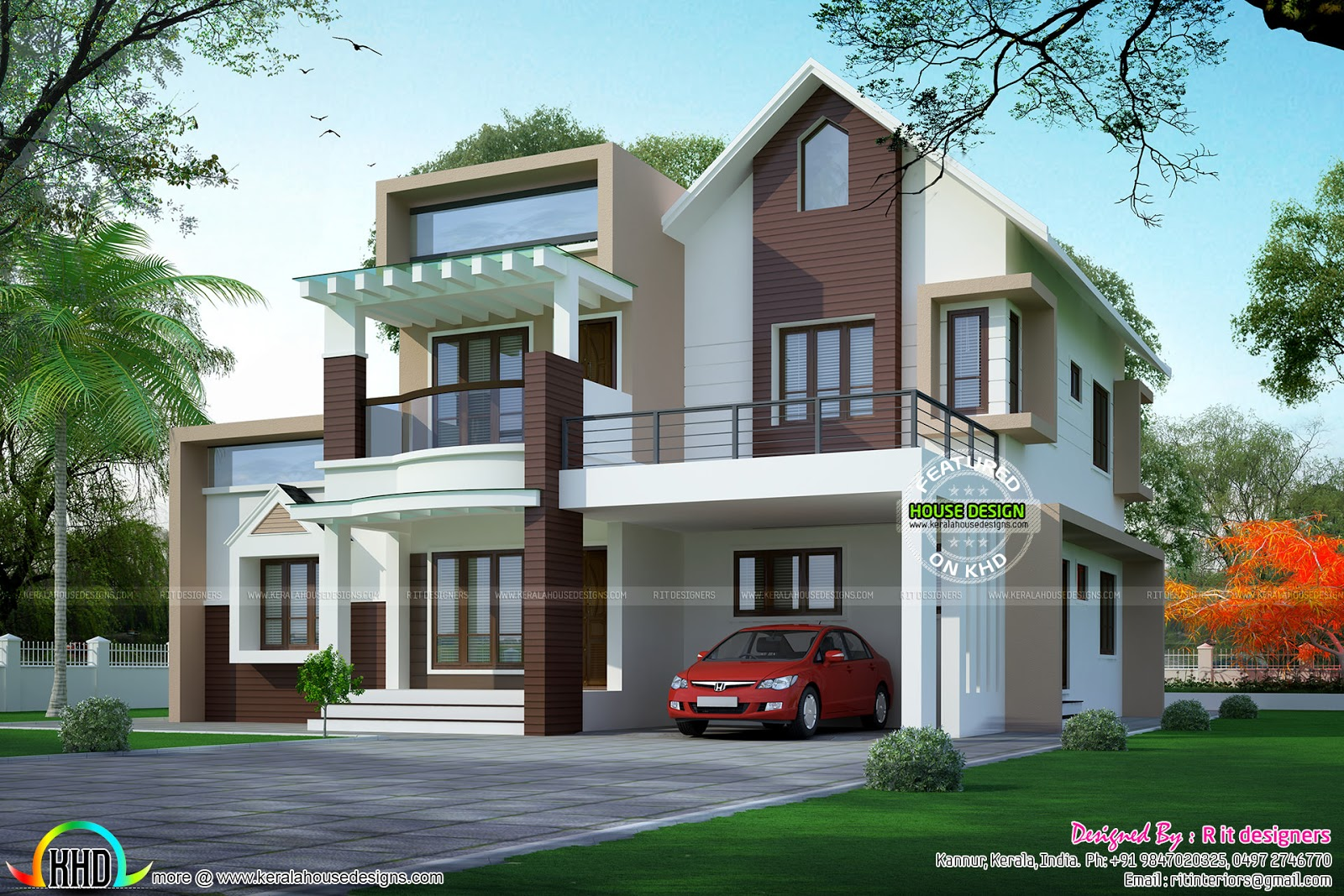 310 sq yd contemporary house mix sloping roof kerala for Kerala contemporary home designs