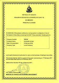Скриншот лицензии Вануату - VFSC