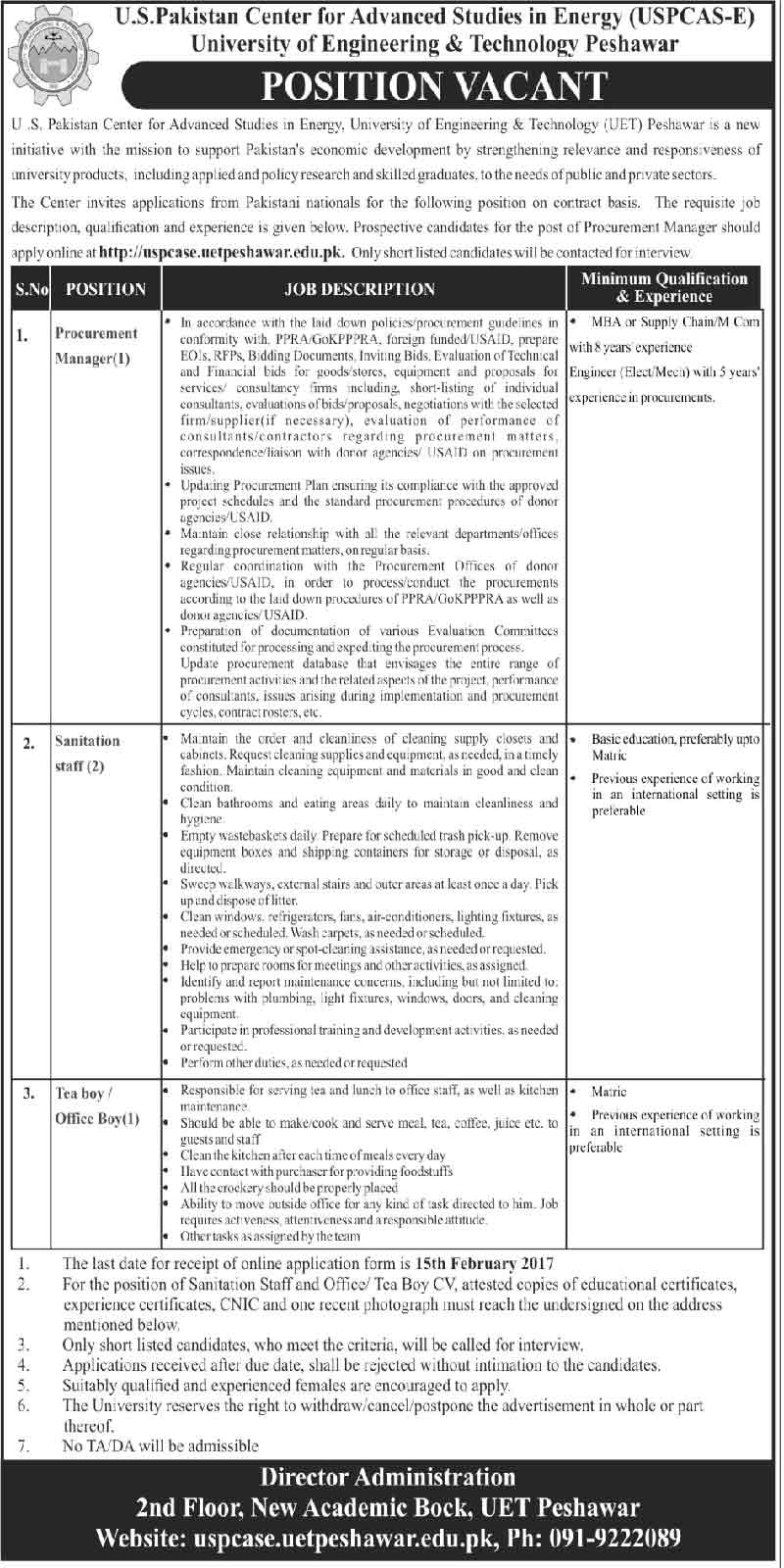 US Pakistan Center for Advanced Studies in Energy UET Peshawar jobs
