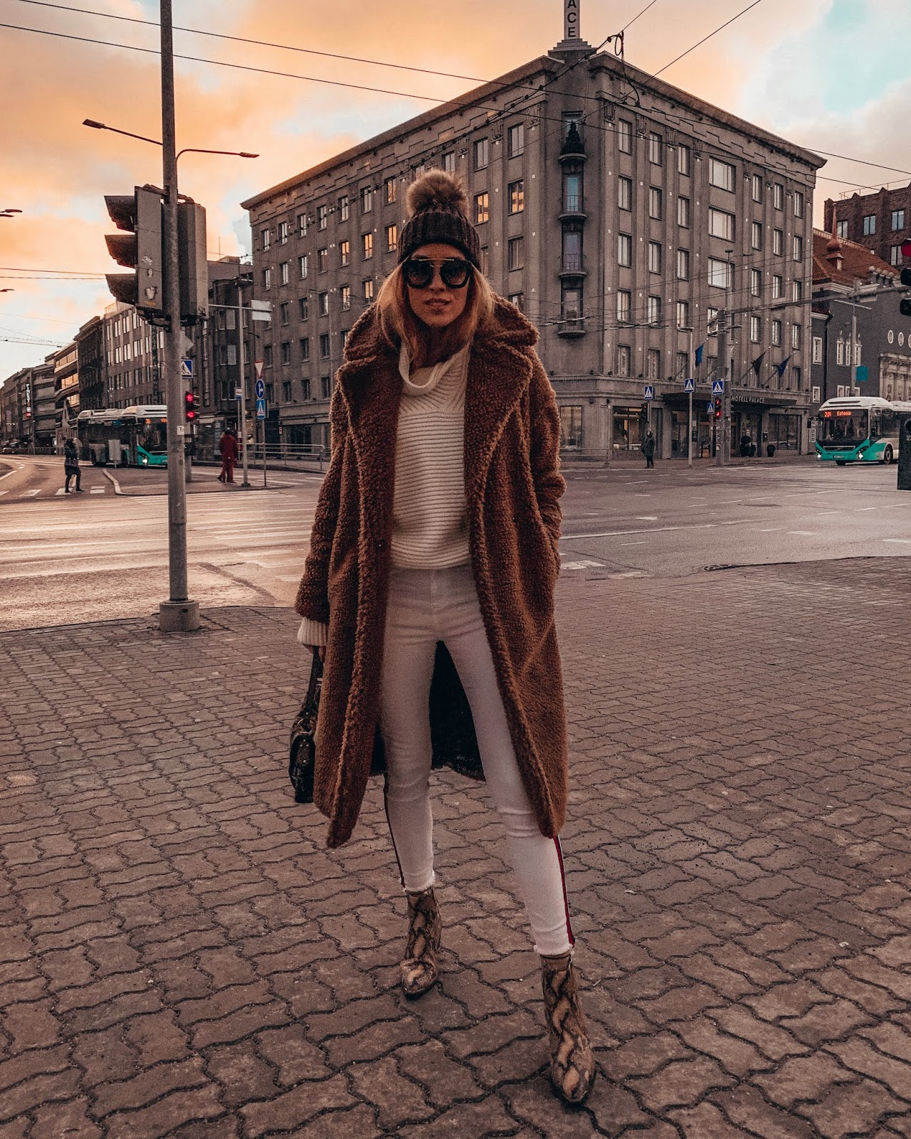 brown teddy coat white jeans white jumper winter style