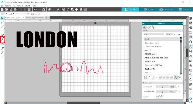 Silhouette tutorial knockout, textverktyget