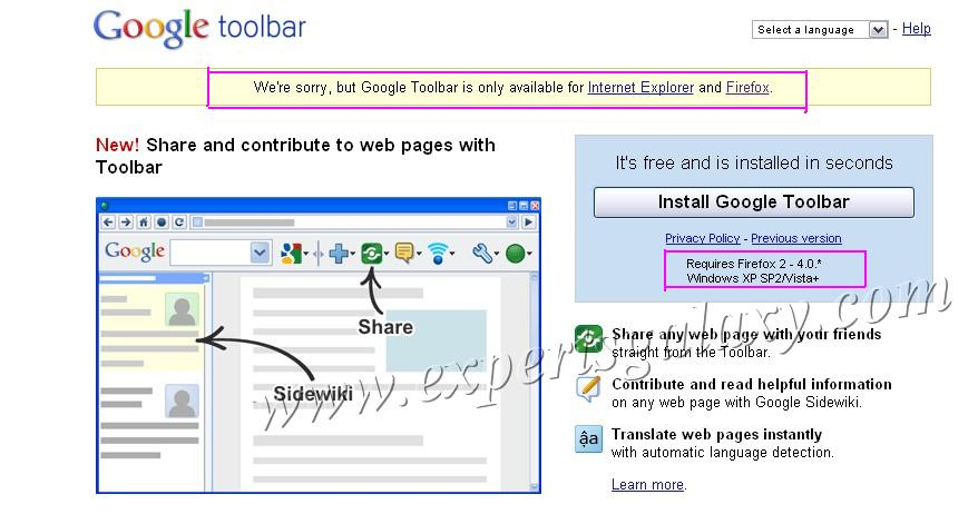Google Toolbar Is Now Available For Internet Explorer Only | Experts