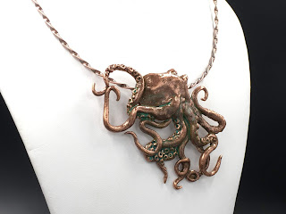 Copper Octopus with turquoise patina