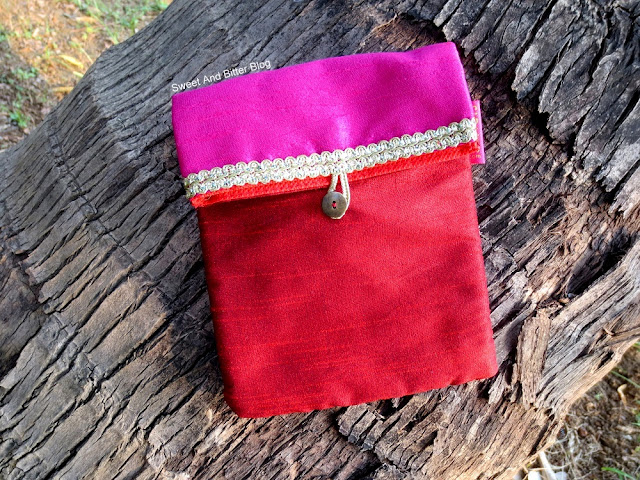 FabBag October Festive Pink Red Fabric Cloth Pouch With Loop Button