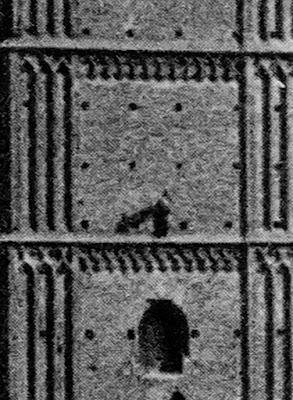 Postkarte der Münchener Frauenkirche um 1920 - Detail - linker Turm