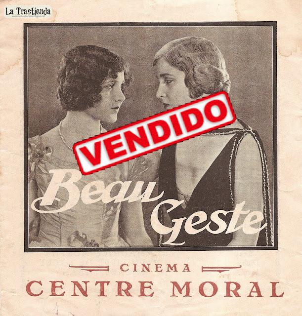 Programa de Cine - Beau Geste (1926) - Cine Mudo - Ronald Colman - Neil Hamilton